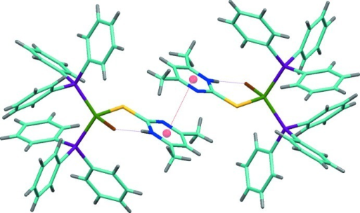 Part of the crystal structure with the intramolecular hydrogen bond and π–π stacking interactions shown asphosphine dashed lines.