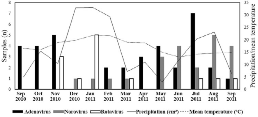 : distribution of positive samples for human adenovirus, norovirus, group Arotavirus and the correlation between rainfall and mean temperature fromSeptember 2010-September 2011. Source: Meteorological System of Paraná.