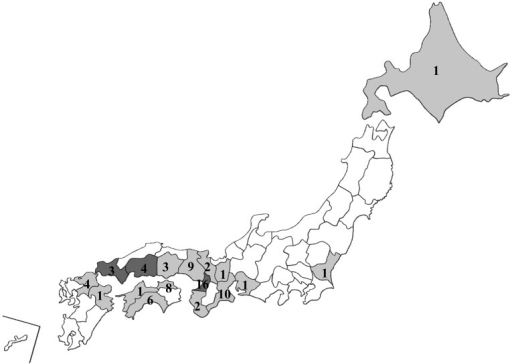 Samples were collected from gray area. The number on the map showed sample numbers.Each 1 sample showed over 1% M121I variant population in dark gray areas (Osaka,Hiroshima and Yamaguchi).