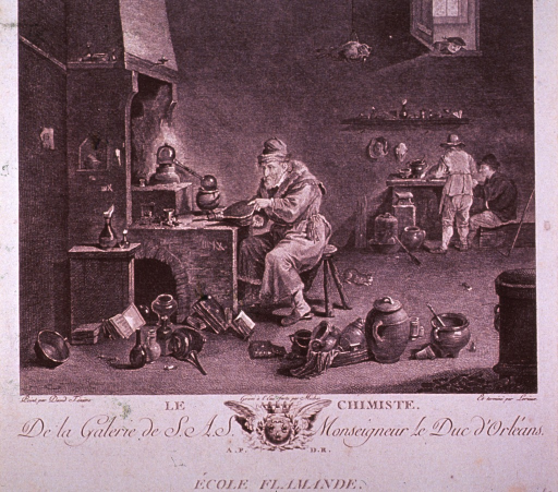 <p>Interior scene: an old man seated at his furnace manipulates a bellows; many types of containers are scattered about the floor around him; two men are working at a table in the background; a man peers in through an open window above the table.</p>