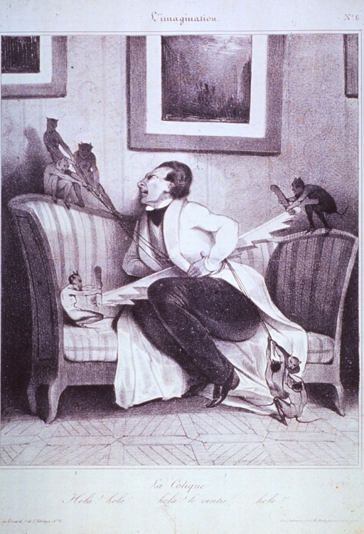 <p>Caricature:  A man, seated on a sofa, clutches his abdomen as he is suffering from great pain; while several devil-like figures saw and pull at him.</p>