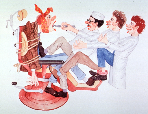 <p>Caricature:  Three dentists, each pulling on the other, are attempting to extract a tooth from a patient tied to the dental chair.</p>