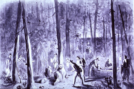 <p>Hospital attendants collecting the wounded at night after the battle near Hatcher's Run, Virginia, Oct. 1864.</p>