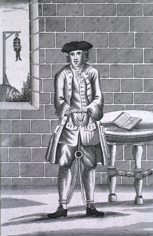 <p>Full length, standing, full face; hands and legs bound; view through window of figure hanging from gallows.</p>