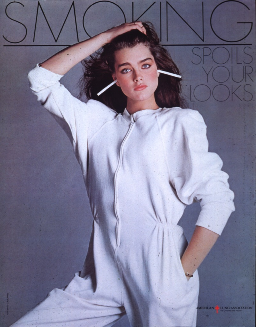 <p>Multicolor poster is a photo image of Brooke Shields, wearing a white jumpsuit, standing against a gray background.  Cigarettes protrude from Shields' ears.  Title in black lettering at top of poster, American Lung Association logo in lower right corner.  Francesco Scavullo's name appears in lower left corner, with vertical orientation.</p>