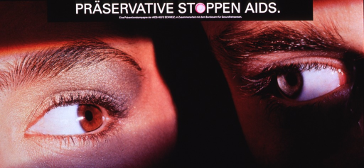 <p>Multicolor poster with white lettering.  Title at top of poster.   The &quot;o&quot; in stoppen is represented by a fresh pink condom.  Publisher information below title.   Visual image is a color photo reproduction featuring a close-up of two people's eyes.  It appears to be a male-female couple; they stand side by side, so they see each other only from the corners of their eyes.</p>