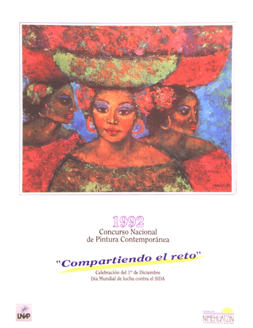 <p>The picture is of an oil painting by Maria Gallo called &quot;Vendadores de flores.&quot;  Three dark-skinned women dressed in off-the-shoulder dresses and hoop earrings carry huge bowls of flowers on their heads.</p>