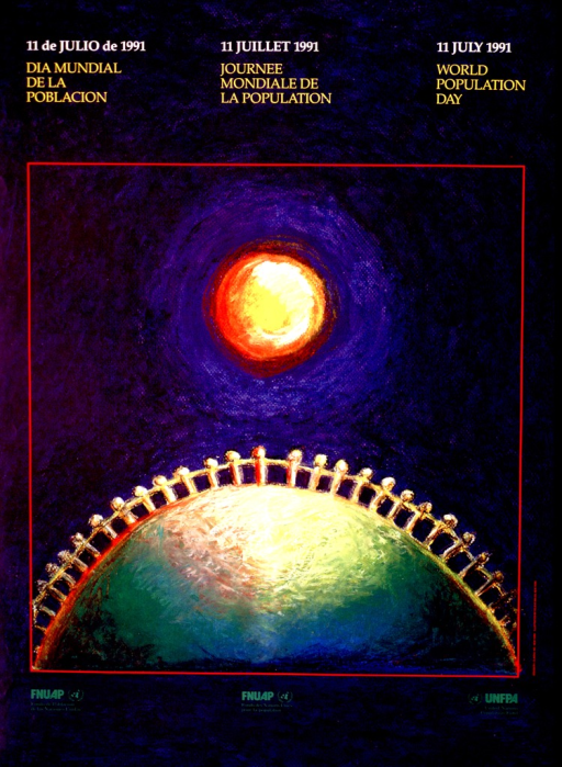 <p>Predominantly blue poster with multicolor lettering.  Title in Spanish, French, and English at top of poster.  Visual image is an illustration of a daisy-chain of human figures standing atop half of a sphere or globe.  A large yellow-red sun is above the sphere.  Publisher information below illustration in all languages.</p>