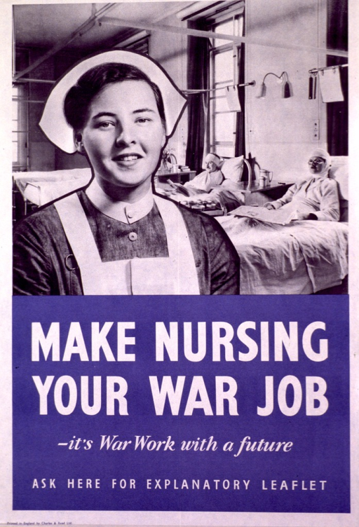 <p>Black and white picture showing a close up view of a female nurse with two hospital beds with patients in the background. The lower half of the poster has large white print against a blue background.</p>