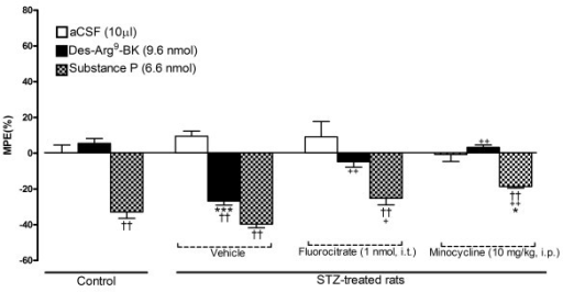 Effect of microglia inhibitors administered 3 h earlier on tail-flick reaction time (MPE %) in control and 4-day STZ-diabetic rats. Shown are the maximal responses measured 1 min after intrathecal injection of either aCSF, 9.6 nmol des-Arg9-BK or 6.6 nmol SP. Data are the mean ± S.E.M. of 5 rats in each group. Within groups, statistical comparison to aCSF is indicated by ††P < 0.01, while statistical comparison to the same agonist in the control group (*) or in STZ + vehicle (+) is indicated by * + P < 0.05; ++ ††P < 0.01; ***P < 0.001.