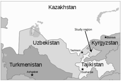 Map of Central Asia. A map of Central Asia showing the study area located in Eastern Uzbekistan.