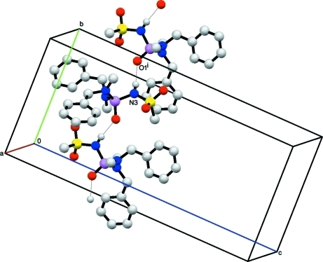 Partial packing view showing the formation of the chain through N—H···O hydrogen bonds which are shown as dotted lines. H atoms not involved in hydrogen bondings have been omitted for the sake of clarity. [Symmetry code: (i) -x, y + 1/2, -z + 1/2]