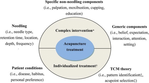 Characteristics of acupuncture treatment. Abbreviations: TCM, traditional Chinese medicine. * Acupuncture treatment is a complex intervention which includes three aspects consisting of many components. † Acupuncture treatment is an individualized treatment based on patient conditions and TCM theory. ‡ Varies considerably across different physicians as different skill and experience