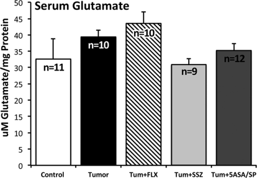 Serum level of glutamate for the 5 experimental groups:   Open-i