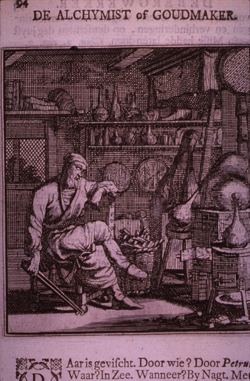 <p>Interior view of an alchemist's shop, showing the alchemist seated before his furnace on which sits a large retort.</p>