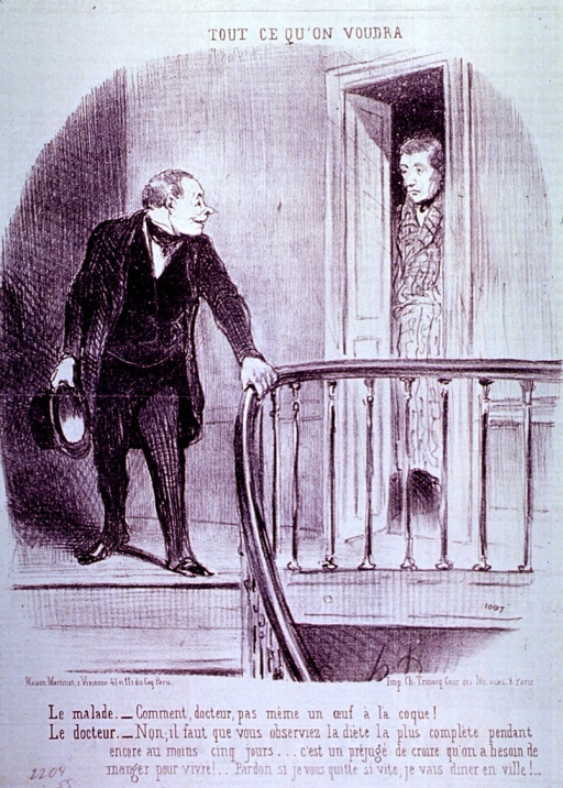 <p>A physician, hat in hand, stands at the top of a staircase, his right hand is on the banister. He has turned his head to respond to a patient who is standing in the doorway of an apartment.</p>