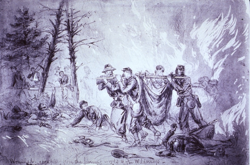 <p>Wounded soldiers escaping from the burning woods of the Wilderness, May 6, 1864.</p>