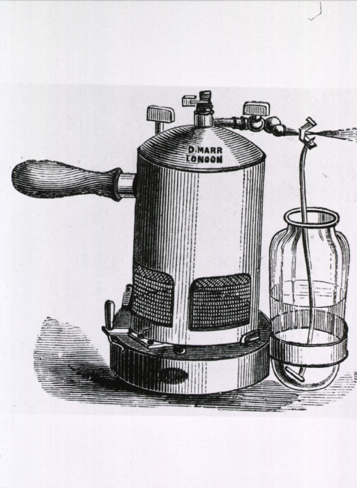<p>A steam sprayer for producing carbolic acid spray, and a separate illustration of a hand sprayer for the same purpose.</p>