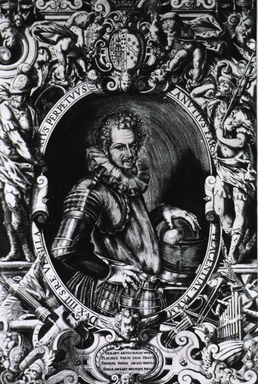 <p>Half-length, right pose, full face; wearing armor, left hand resting on helmet; in oval with elaborate border showing musical instruments, military weapons, mythological figures, and coat-of-arms.</p>