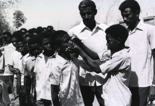 <p>Two men, members of a trachoma control team, are observing as a young boy applies ointment to his classmates' eyes.</p>
