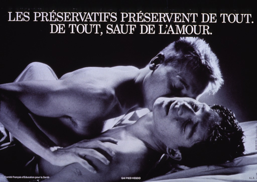 <p>Black and white poster.  Title at top of poster.  Visual image is a b&amp;w photo reproduction featuring a male-male couple kissing and lying in bed.  Publisher and sponsor information at bottom of poster.</p>