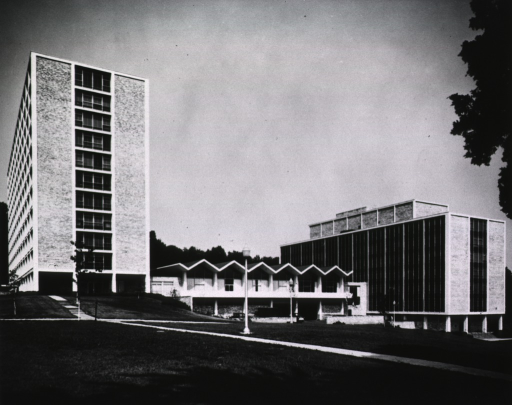 <p>Rear view of Building 31.  &quot;B&quot; Wing is to the right, &quot;A&quot; Wing, to the left, provides administrative office space for the Institutes.</p>