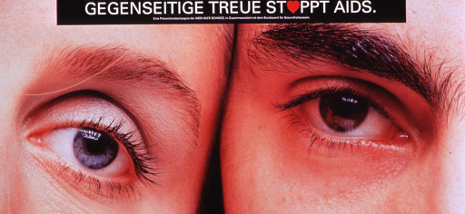 <p>Multicolor poster with white lettering.  Title at top of poster.  The &quot;o&quot; in stoppt is represented by a red, symbolic heart.  Publisher information below title.  Visual image is a color photo reproduction featuring two people's eyes.  It appears to be a male-female couple; they are side by side, so only one eye from each person is visible.</p>