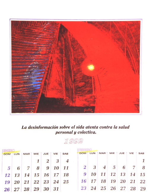 <p>The bottom of the poster is a calendar of the months of January and February of 1992.  The top is a reproduction of an abstract oil painting by Arnoldo Guillen entitled &quot;Velero 1.&quot;</p>