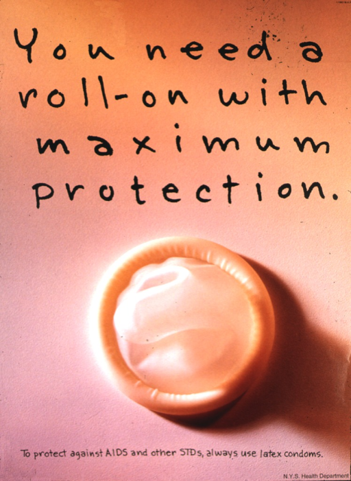 <p>In the bottom half of the poster, there is an unwrapped condom.</p>
