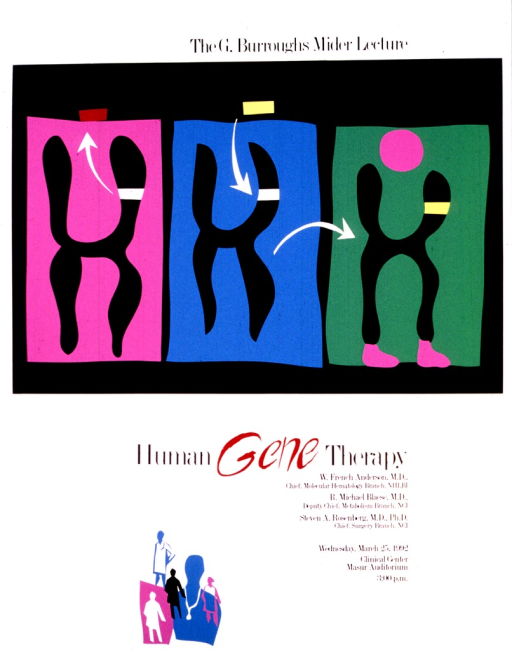 <p>The top half of the poster shows three x-shaped chromosomes.  A red bar is being removed from the first one, a yellow bar is being inserted into the empty space in the second one, and the third shows the yellow bar in place.  The third figure also has a purple dot above the chromosome, representing a human head, and purple &quot;feet&quot; on the bottom two legs of the chromosome.  The bottom portion of the poster lists the speakers and their affiliations along with the date, time, and place of the lecture.  There are several outlines of people clustered at the bottom of the poster, some wearing lab coats and some have stethoscopes.</p>