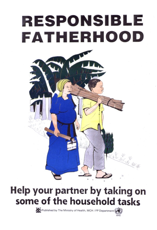 <p>White poster with black lettering.  Title at top of poster.  Visual image is a color illustration showing a man carrying some wood and produce and a pregnant woman walking along with a hoe.  Caption below illustration.  Publisher logo and information below caption, along with sponsor logo.</p>