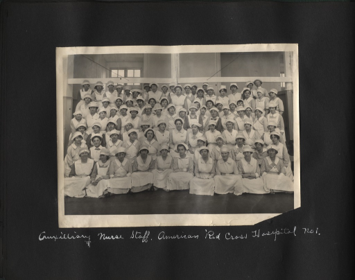 <p>Black and white photograph of the auxilliary nurse staff at the American Red Cross Military Hospital no. 1 in Neuilly-sur-Seine, France.</p>