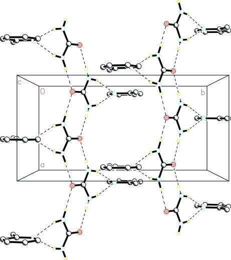 A view of the N—-H···O and N—H···N hydrogen bonds (dotted lines) in the crystal structure of the title compound. H atoms non-participating in hydrogen-bonding were omitted for clarity.