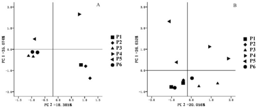 PCA analysis results based on DGGE profiles of paddy soil samples ((A): bacteria, (B): actinomycetes).