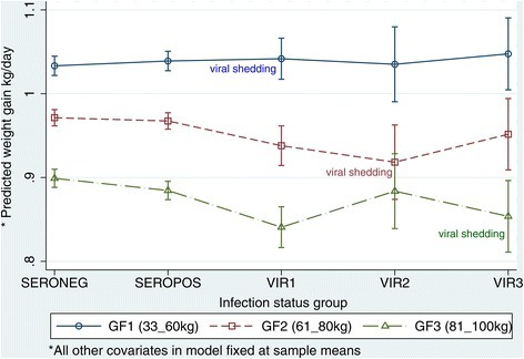 Marginal plots for average daily growth (ADG) and adverse effects of influenza A(H1N1)pdm09 virus infection. Based on the model presented in Table 2, the mean ADG was predicted for each of the five infection status groups and the three growth phases (GF), while all other covariates of birthdate, feed intake and breed were fixed at the sample means. The effect of the virus infection is marked by comparing the four infected groups with the reference seronegative group on the same growth phase denoted by the line joining the groups. Comparisons between groups were made for each growth phase since ADG vary with age. As depicted in the graph, the younger pigs would hypothetically have a higher ADG because they have a better FCE (see Figure 2 and Table 3) if feed intake is fixed at the same level. The gradient of the lines joining the means of each group and the confidence intervals indicate whether there were differences between the groups. Abbreviations: INFGP = Infection status group; SEROPOS = seropositive pigs, SERONEG = seronegative pigs, VIR1 = PCR-positive pigs at bodyweight between 33 kg and 60 kg (GF1); VIR2 = PCR-positive pigs at bodyweight between 61 kg and 80 kg (GF2); VIR3 = PCR-positive pigs at bodyweight between 81 kg and 100 kg (GF3).