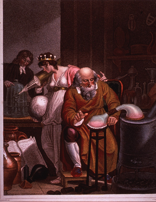 <p>Interior view of an 18th century laboratory showing alchemists at work.</p>