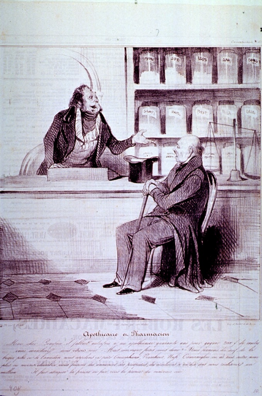 <p>Interior scene of a pharmacy:  an old man sits in front of the counter listening to a pharmacist; in the background are shelves of apothecary jars, on the counter stands a scale and the old man's top hat.</p>