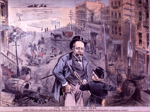<p>Exterior view: street scene with a garbage dump, a slaughterhouse, a soap factory, men digging a hole in the street, a Commissioner of Charities and Corrections horse drawn wagon, and overflowing barrels.</p>