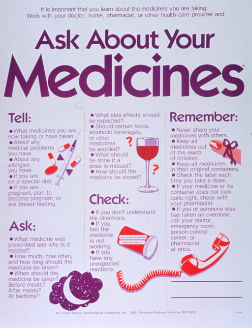 <p>White poster with purple lettering.  Title at top of poster.  Poster dominated by text about medications.  Sections include what to tell the provider about medical and lifestyle issues, what to ask about the medication to take it properly and manage side effects, when to check back with the provider, and what to remember about basic drug safety.  Visual images include illustrations of pills and a syringe, a crescent moon, a wine glass, a pill bottle with a warning label, a string tied around a finger, and a phone receiver.  Publisher information at bottom of poster.</p>