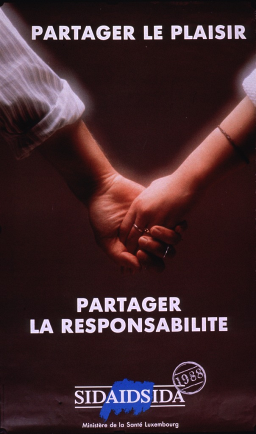 <p>Predominantly brown poster with white lettering.  Initial title phrase at top of poster.  Entire poster is a reproduction of a color photo of the clasped hands of a male-female couple.  Remaining title phrase, caption, and publisher information in lower portion of poster.</p>