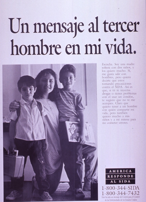 <p>Predominantly white poster with black lettering.  Title at top of poster.  Visual image is a b&amp;w photo reproduction featuring a woman and two young boys.  The woman is kneeling down so she is about the same height as the boys.  Caption to right of photo addresses the woman's insistance on avoiding the risk of HIV/AIDS while dating.  Note below caption, publisher information below note.</p>