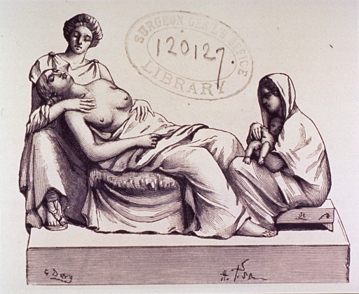 <p>A woman is being attended to after giving birth.</p>