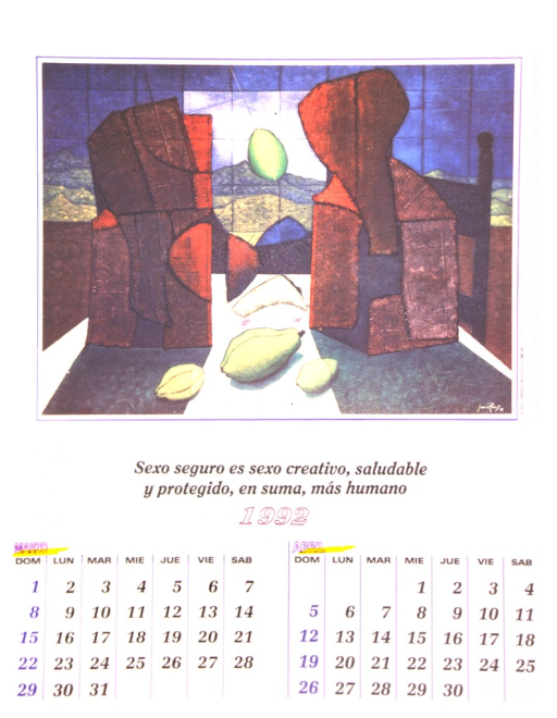 <p>The bottom of the poster is a calendar of the months March and April of 1992.  The top is a reproduction of a modern oil painting by Juan Rivas entitled &quot;Dos cortes rojos y limon.&quot;</p>