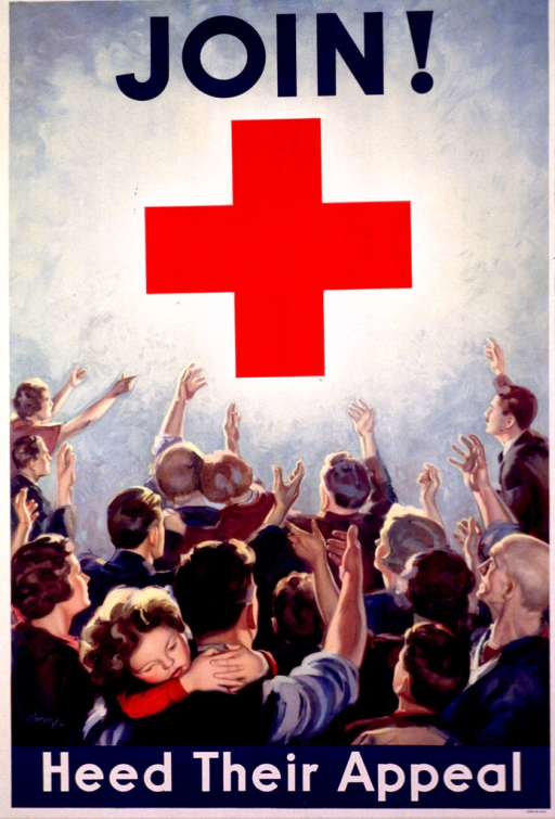 <p>Poster has title in large blue letters at the top with the Red Cross logo under it. Both are against a light blue background with a yellow glow around the logo. The bottom of the poster shows men, women, and children facing the Red Cross logo with a hand stretched out towards it.</p>