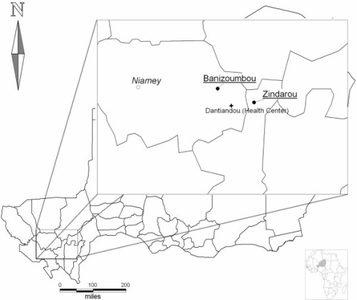 Study sites. Map of Niger with the larger insert for the study zone showing the relative situation of villages to the Capital, Niamey. Scale bars for the Niger map.