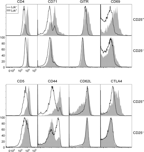 Phenotype of p56Lck-deficient T cells.Flow cytometry data showing expression of the indicated molecules on CD25+ or CD25− lymph node CD4+ T cells from Lck/Fyn mice. Cells were permeabilized and stained with the 1F6 antibody to discriminate cells that had undergone Ox40-cre-mediated inactivation of the Lck gene from those that had not (open versus solid curve respectively).