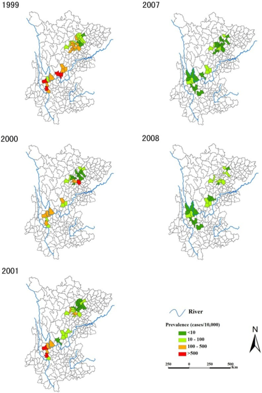 Annual prevalence of schistosomiasis at county level during the two study periods.