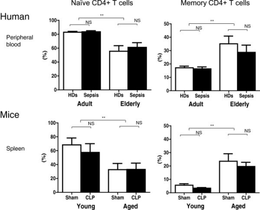 Decreased proportion of naïve T cells and increased proportion of memory T cells in severe sepsis in elderly patients and aged mice. Decreased numbers of naïve T cells (CD62L + CD44-) and increased numbers of memory T cells (CD62L- CD44+) among CD4+ T cells were observed in peripheral blood from elderly patients and spleens from aged mice relative to adult humans and young mice by flow cytometric analysis (P <0.01); n = 14 to 25 in patients/healthy donors (HDs) and 6 to 8 in mice, per group **P <0.01.