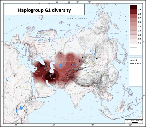 Map of haplotype diversity of haplogroup G1.The black points represent the populations for which diversity values were calculated. Abbreviations in the statistical legend indicate the following: MIN and MAX, the minimal and maximum values on the map.