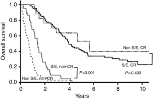 Overall survival curves according to the initial treatment response in patients with stage IV ovarian carcinoma. S/E group, serous or endometrioid tumours; non-S/E group: clear cell, mucinous, and other tumours; CR=complete response.